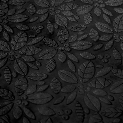 3354 Papel Velutto Folhas e Frutos - Preto