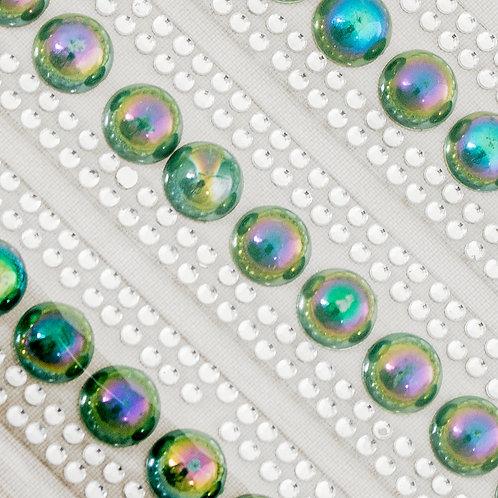 Cartela de Pérolas e Strass Adesivos 7mm (6722-008 verde escuro)