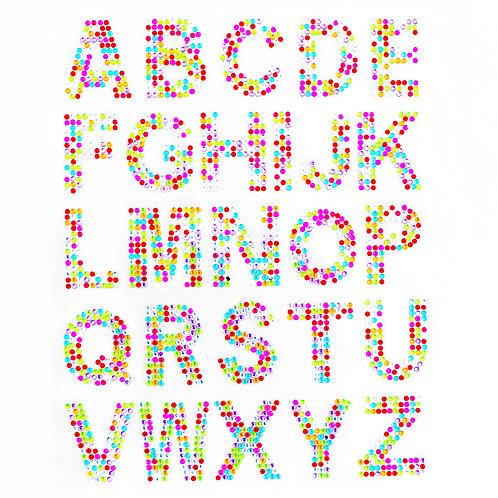 Cartela de Alfabeto Strass Adesivos 35mm (6726-012)