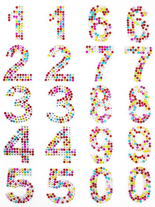 Cartela de Números Strass Adesivos 35mm (6726-006)