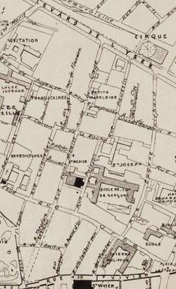 Plan quartier Saint-Nicaise, lieux de tournage, carte Lanfry 1939