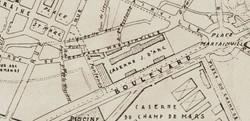 Rues des Remparts Martainville et du Figuier, lieux de tournage, carte Lanfry 1939