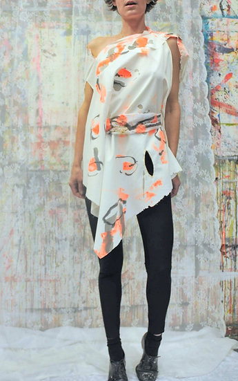 Intuitive Neon Leaves Cape Dress