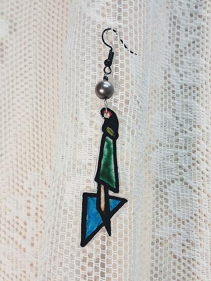 Geometric thunder single earring