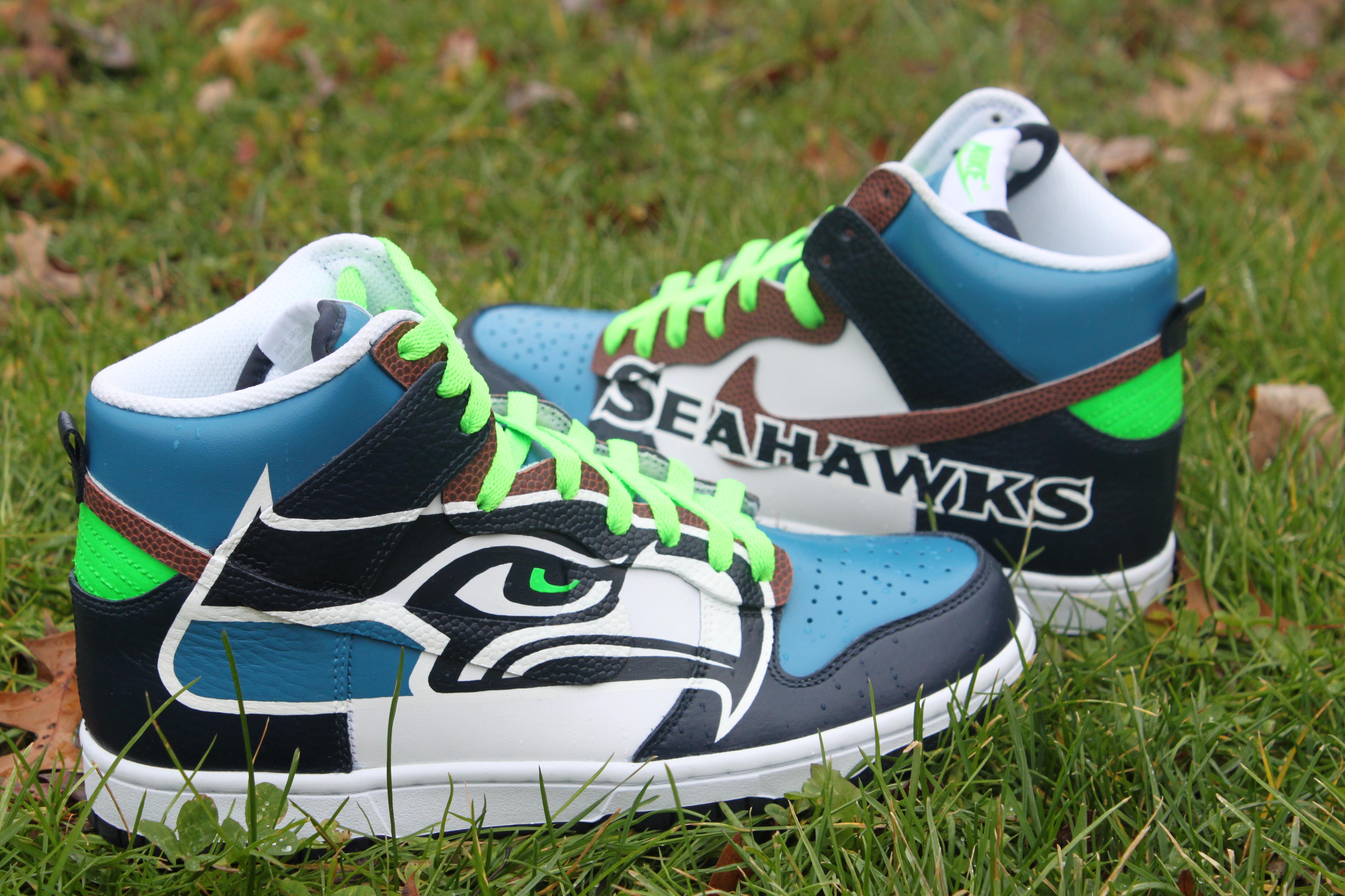 969a9a584fa The Seattle Seahawks Custom Dunks
