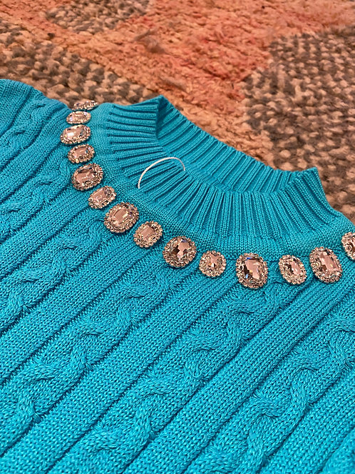 Jewels cropped sweater turquoise