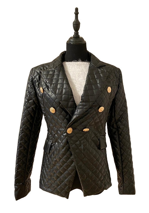 Faux leather quilted blazer