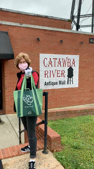 Liz delivers PPE relief to Catawba River Antiques