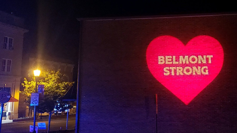 Belmont Strong illuminated message in do
