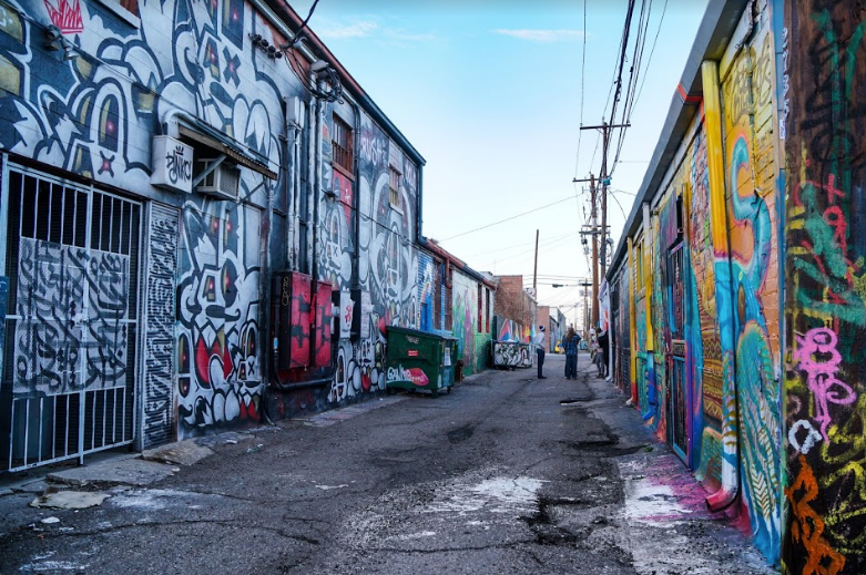 An alleyway in the RiNo Art District in Denver featuring some of the best graffiti and street art in town.