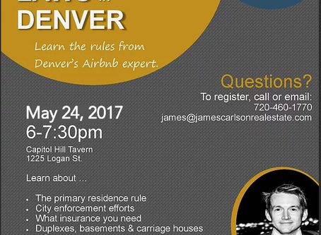 Airbnb Laws in Denver -- May Happy Hour Event