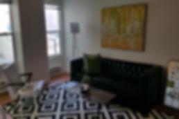Dark Airbnb photo of a Denver apartment