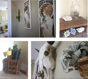 Eclectic art in a Denver Airbnb listing
