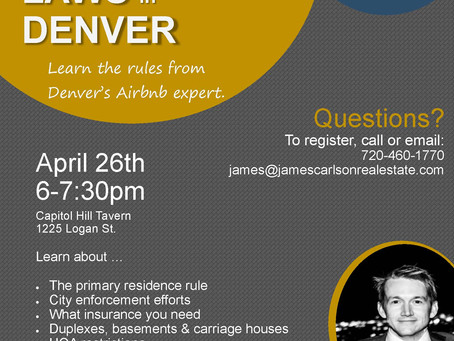Airbnb Laws in Denver -- April happpy hour event