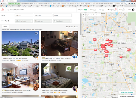 Search results page for Airbnb in Denver
