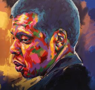 Denver street artist Thomas Evans, aka Detour, paints a portrait of Jay-Z for David Letterman's new Netflix show.