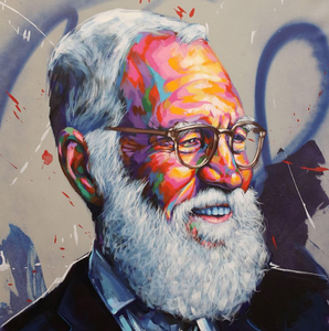 Denver graffiti and street artist Thomas Evans, aka Detour, painted a portrait of David Letterman for the former late-night talk show host's new show on Netflix.