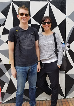 Denver Graffiti Tour founders James Carlson and Erin Spradlin in Bogota. Upon return, they started the Denve Graffiti Tou, a 2-hour walking showcase of the city's best murals and street art.
