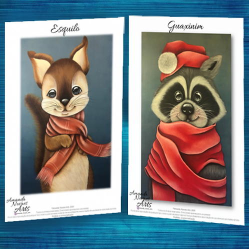 Pack - Squirrel and Raccoon - Acrylic Painting - Eng-Us