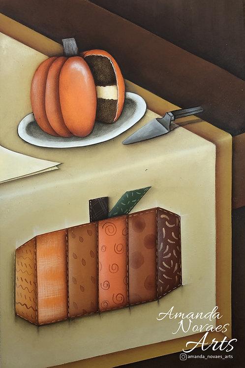 Patch Apliquê Abóbora - Pintura Acrílica - Pt-br