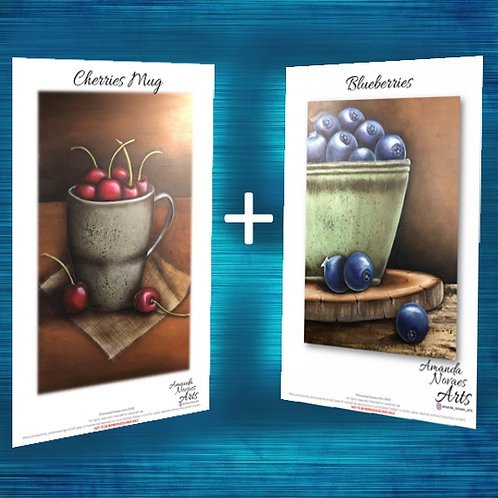Pack - Cherries and Blueberries - Acrylic Painting - Eng-Us