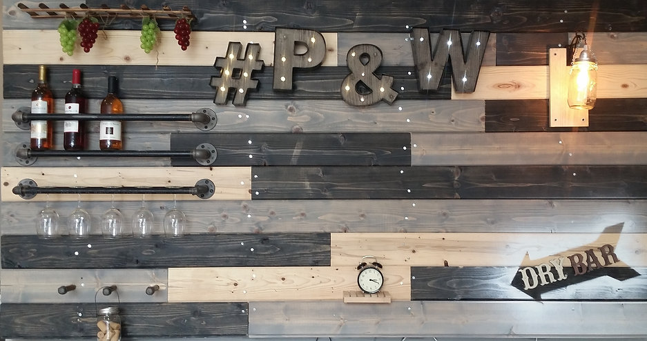 Dry bar and decor at Pink and White