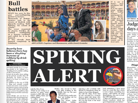 Costa Del Sol Drink spiking awareness drive by CPM recieves media Coverage in the Olive Press