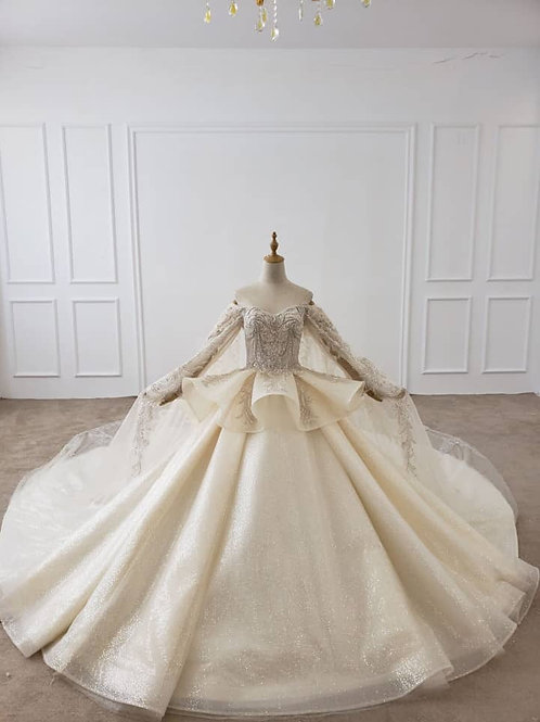 Luxury Bridal Ballroom Gown with Cape Detailing #890507
