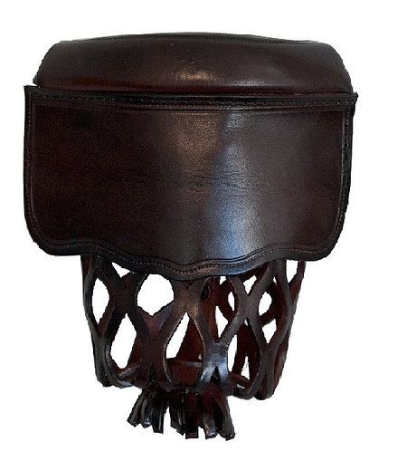 Dark Brown Leather Shield Pool Table Pockets (Set of 6)
