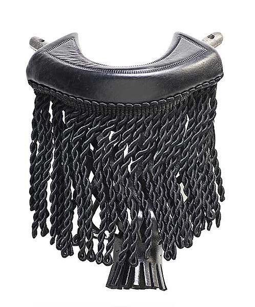 Black Leather Fringe Pool Table Pockets (Set of 6)