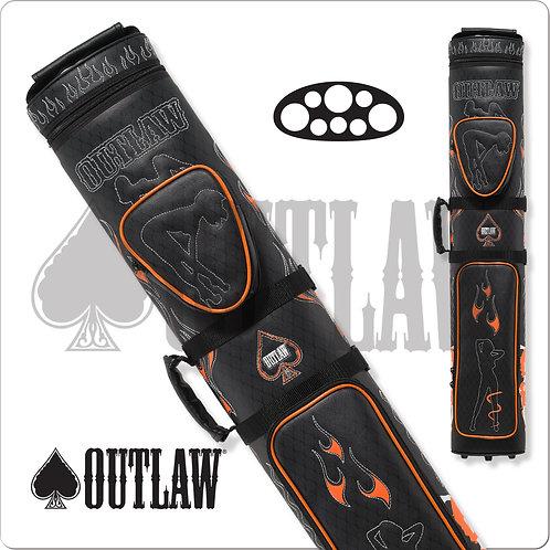 Outlaw OLB35D Stitch Flames 3x5 Hard Pool Cue Case