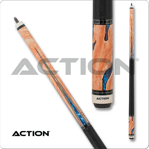 Action ACT153 Fractal Pool Cue - Burl wood overlay with water design