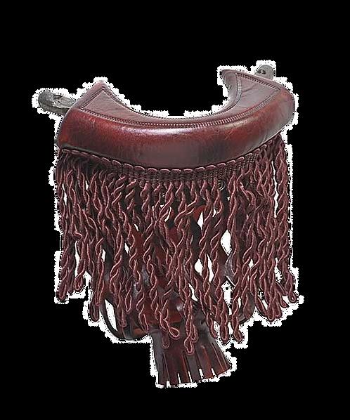 Cherry Leather Fringe Pool Table Pockets (Set of 6)