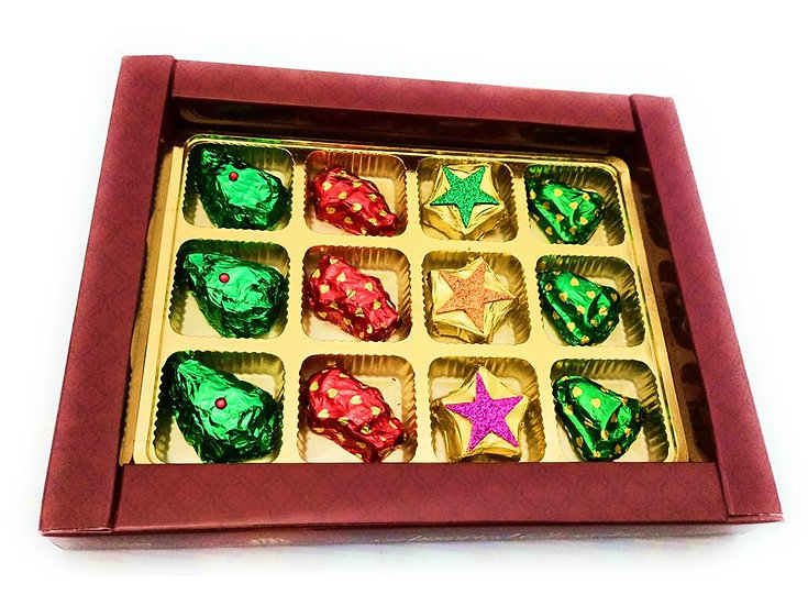 Christmas Special Chocolates, Christmas Tree, Bells, Santa and Stars.