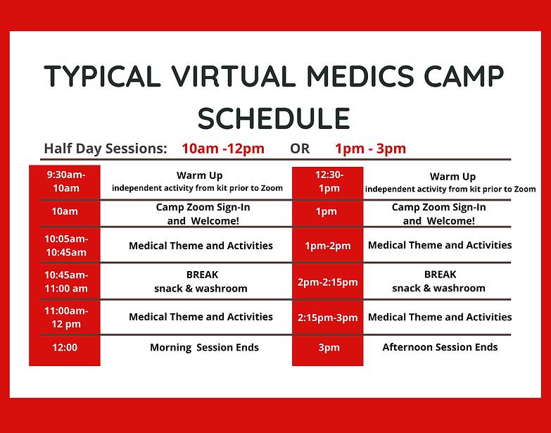2021 Typical Virtual Medics Camp Schedul