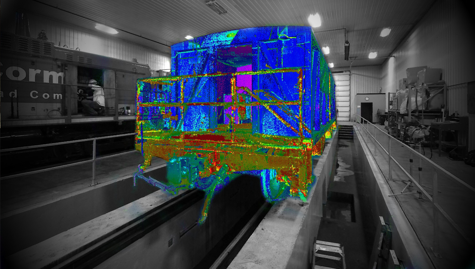 3D POINT CLOUD RAILCAR OVERLAY-PMC has done many unique laser scanning projects. Shown here is an example of a rail car 3D modeled using point cloud data. The scan is a source for railroad issues such as, to scrap or not to scrap, inspection, maintenance, repair, modification, refurbish and retrofitting, and industry changes and regulations.