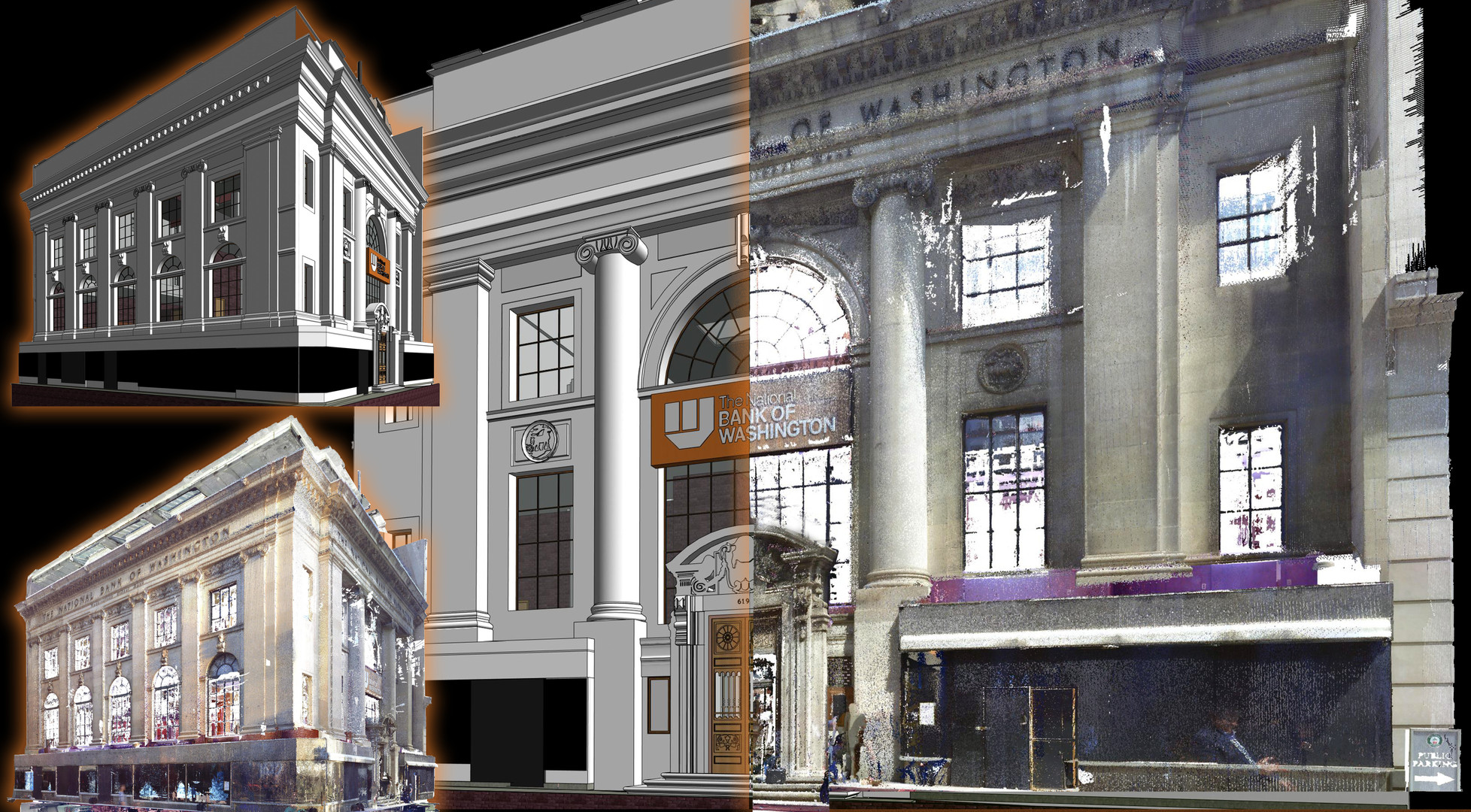 3D REVIT MODEL FROM LASER SCAN DATA-Shown here is an accurate 3D model taken from laser scan point cloud data of a historical site. PMC has years of experience scanning and modeling historical facilities for restoration and preservation. Having a digital twin provides teams access to a sole source of data for any future projects.