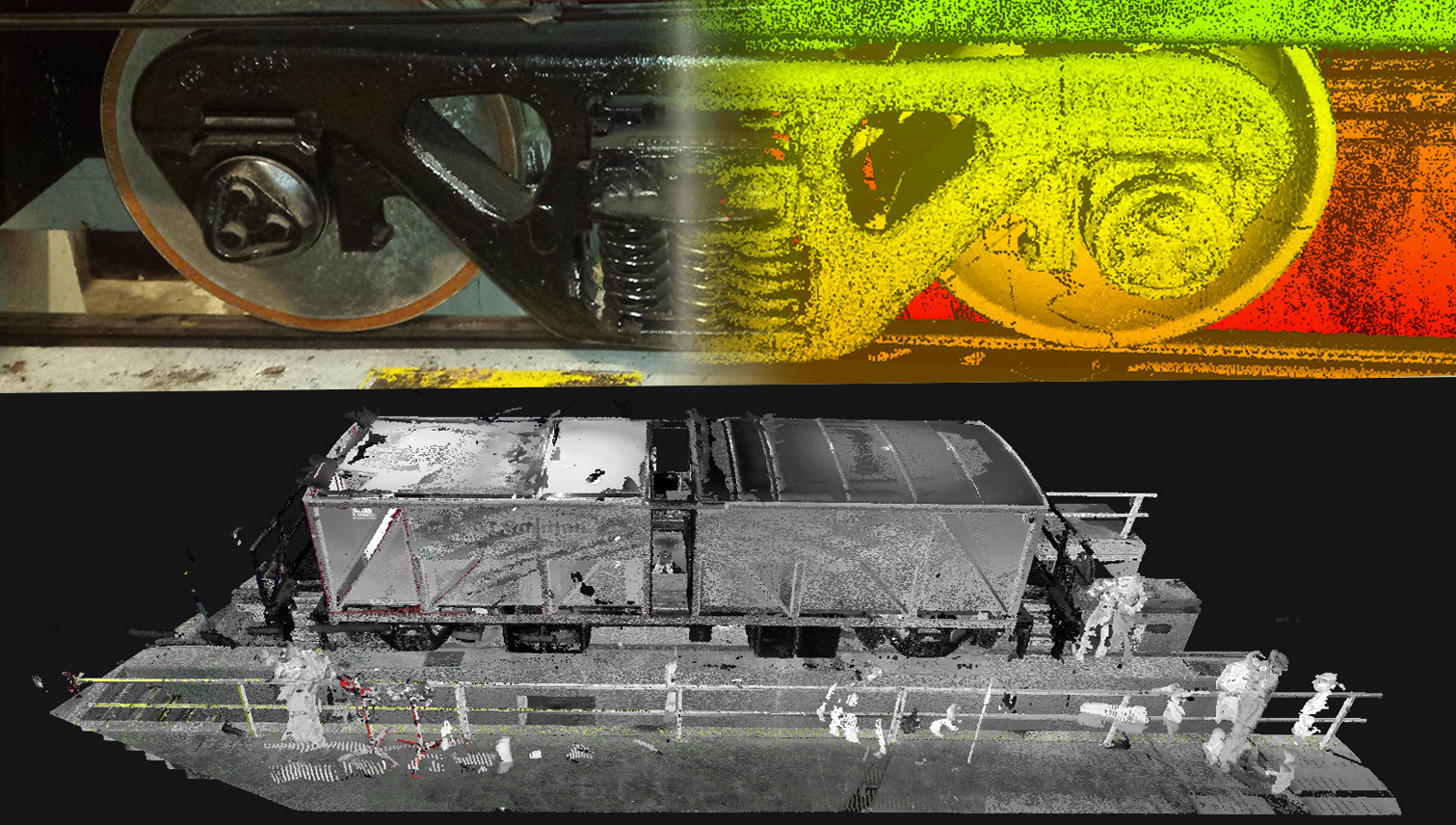 REALITY VS. REALITY CAPTURE AND 3D POINT CLOUD MODEL- Shown here is an example of a rail car wheel system that needed to be accurately created in a 3D model. The purpose of this scan is to provide the proper spacing measurements for an undercarriage to be added later.