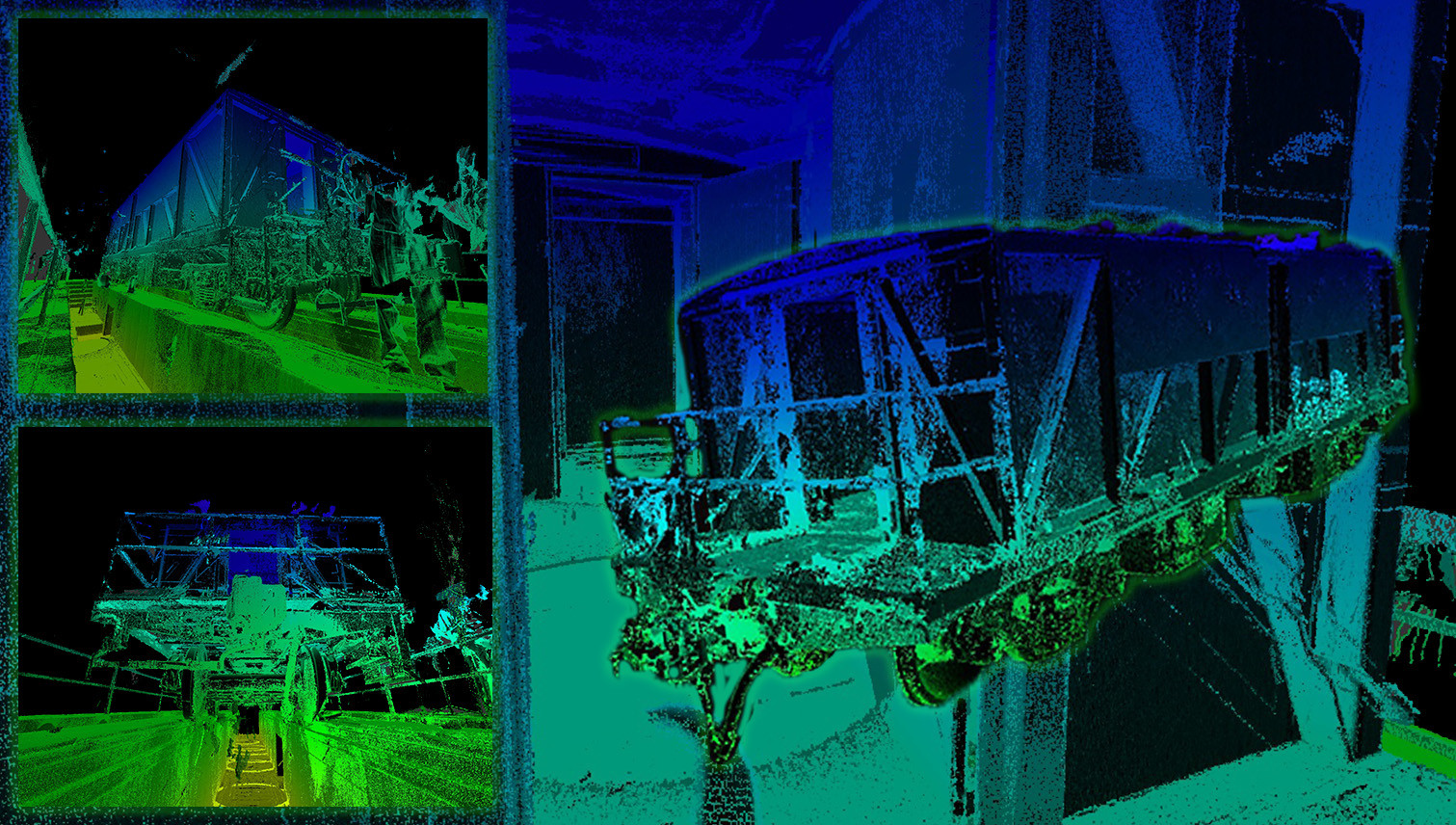 MULTI-VIEW POINT CLOUD DATA FROM LASER SCAN-Shown here is a variety of views of the rail car. All of these were created using scan data imported into Inventor. Having this data provides laser scanning and ROI solutions for accurate data, exact measurements, advanced decision making, reduce cost and timing, data quickly available to entire team, and increase in safety.