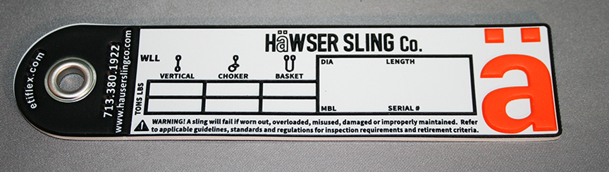 Synthetic or Wire Rope Sling Tag