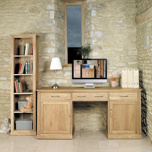 Attractive Mobel Oak Large Hidden Office Twin Pedestal Desk