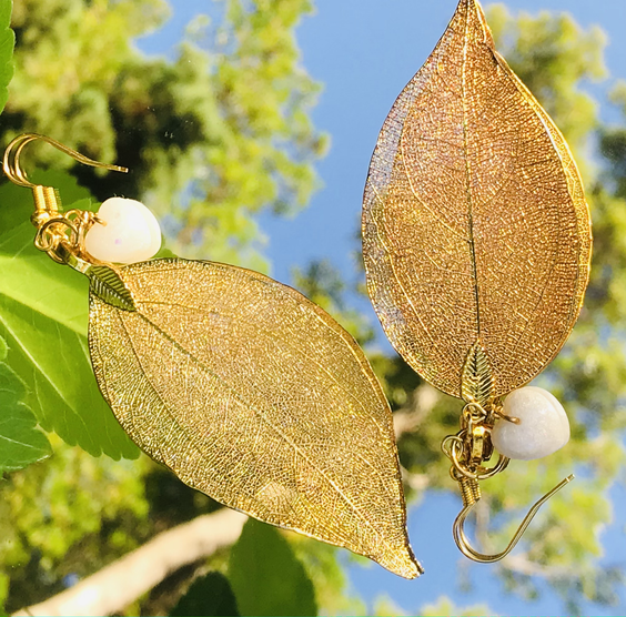 Gold leaf-earrings by Green Bird Gifts