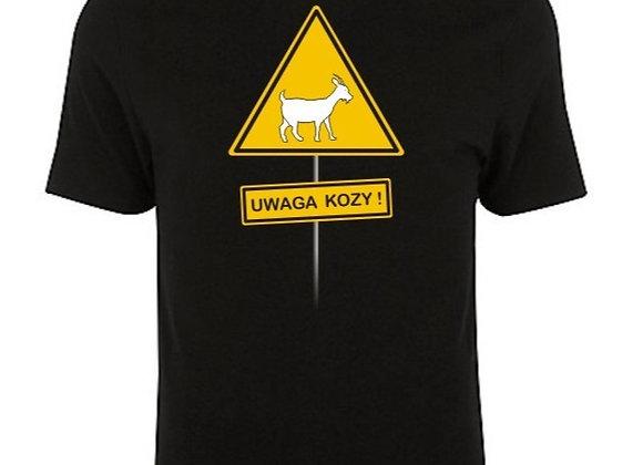 koszulka męska czarna (T-shirt) UWAGA KOZY!