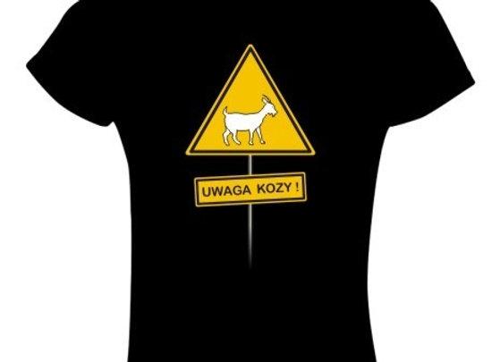 koszulka damska czarna (T-shirt) UWAGA KOZY!