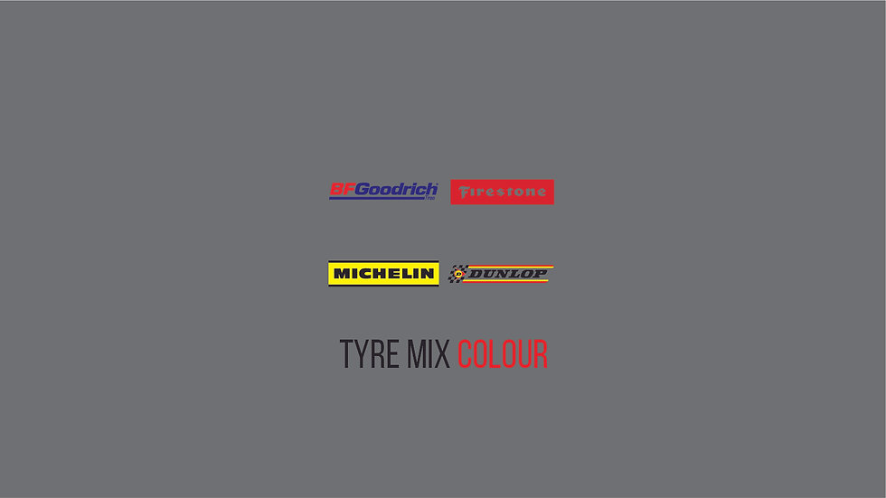 TYRE BRANDS COLOUR MIX Waterslide Decal Sheet