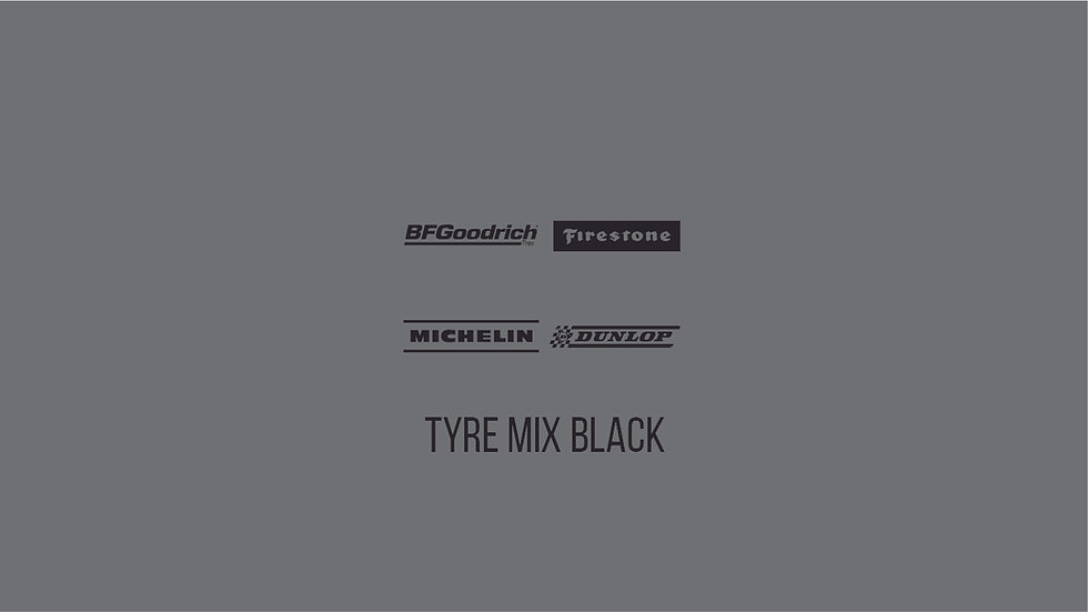 TYRE BRANDS BLACK MIX Waterslide Decal Sheet