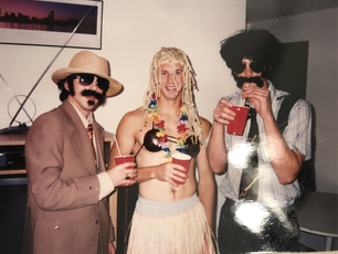 Pat, Jason, and Estes Halloween 1998 at Highwy 30 Apartments, Mt. Vernon, IA