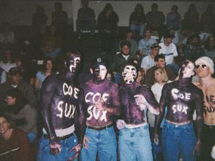 Estes, Bristol, Bauch, Jason, and Wags at a Cornell vs. Coe basketball game