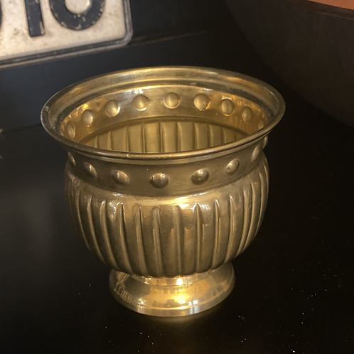 Antique Brass Ribbed Bowl