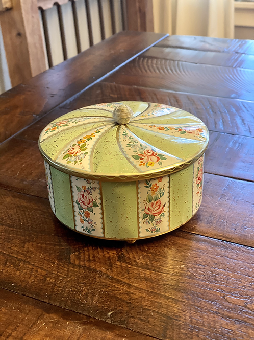 Vintage Round Mint Green Lidded Tin